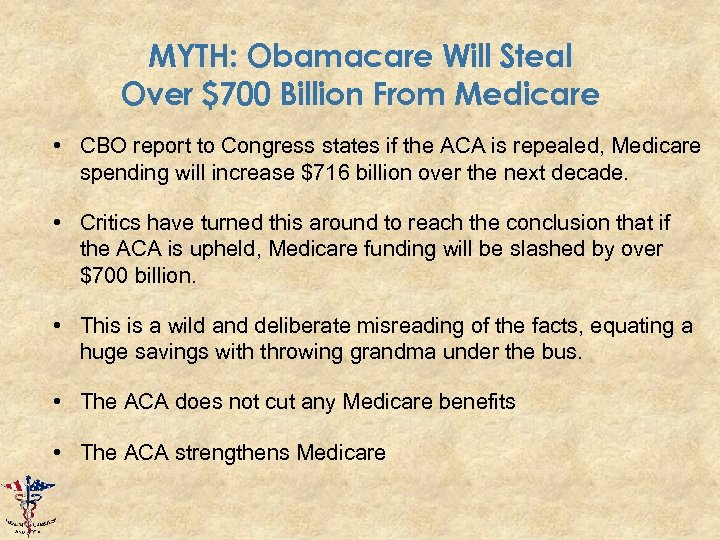 MYTH: Obamacare Will Steal Over $700 Billion From Medicare • CBO report to Congress