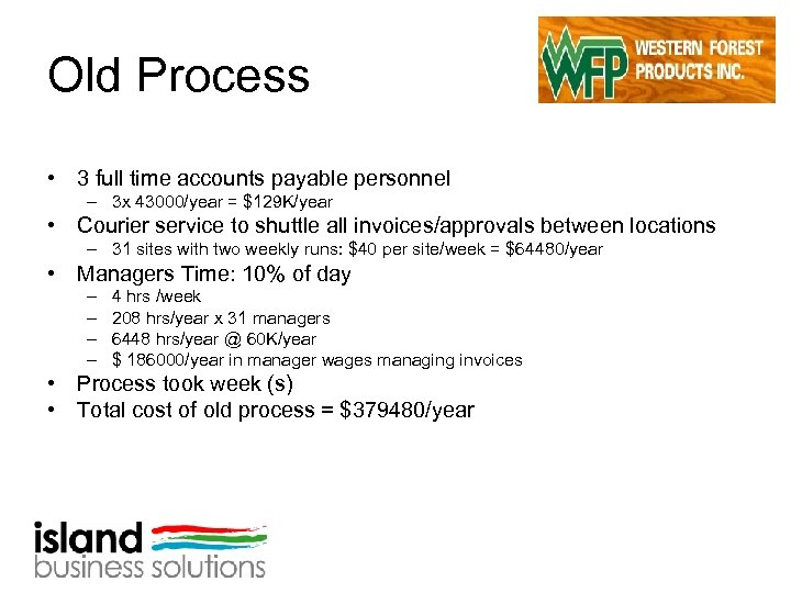 Old Process • 3 full time accounts payable personnel – 3 x 43000/year =