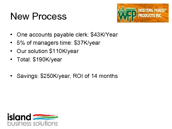 New Process • • One accounts payable clerk: $43 K/Year 5% of managers time:
