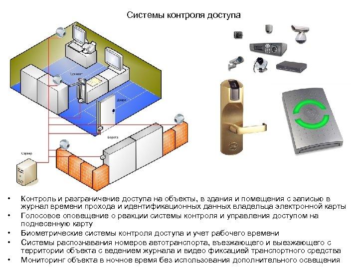Системы контроля доступа • • • Контроль и разграничение доступа на объекты, в здания