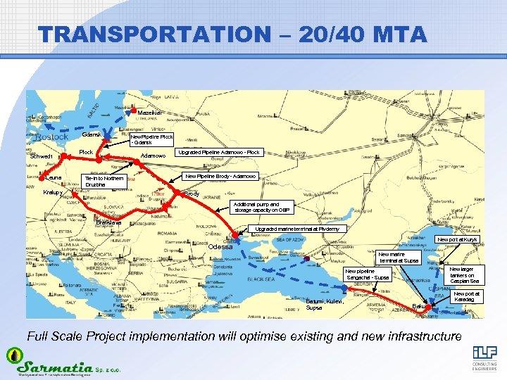 TRANSPORTATION – 20/40 MTA Mazeikiai Gdansk Schwedt Leuna Plock New Pipeline Plock - Gdansk