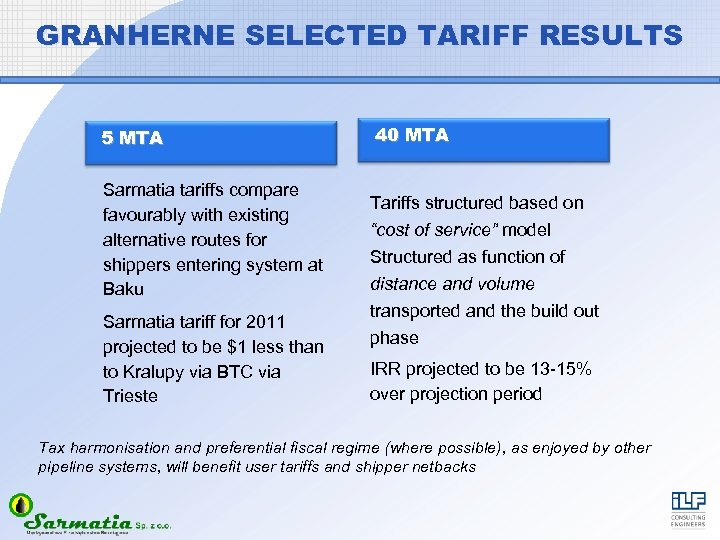 GRANHERNE SELECTED TARIFF RESULTS 5 MTA Sarmatia tariffs compare favourably with existing alternative routes