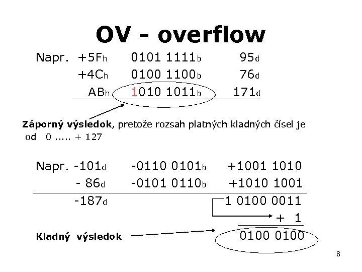 OV - overflow Napr. +5 Fh +4 Ch ABh 0101 1111 b 95 d