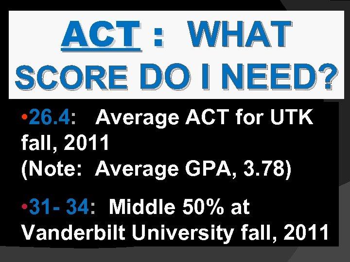 ACT : WHAT SCORE DO I NEED? • 26. 4: Average ACT for UTK