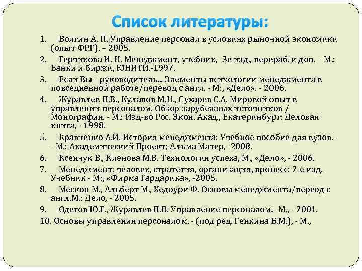 Список литературы: 1. Волгин А. П. Управление персонал в условиях рыночной экономики (опыт ФРГ).