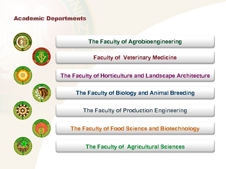 Academic Departments The Faculty of Agrobioengineering Faculty of Veterinary Medicine The Faculty of Horticulture