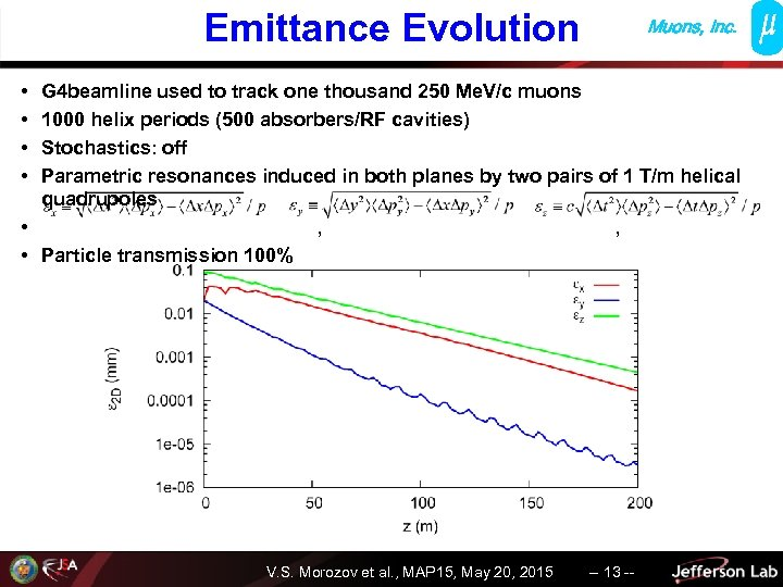 Emittance Evolution Muons, Inc. • • G 4 beamline used to track one thousand
