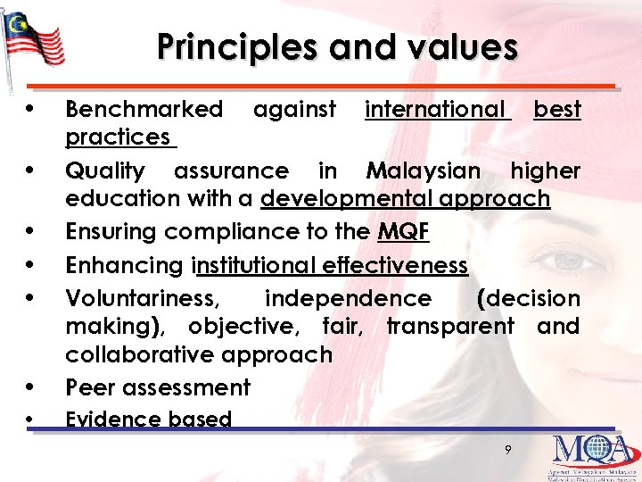 Principles and values • Benchmarked against international best practices Quality assurance in Malaysian higher