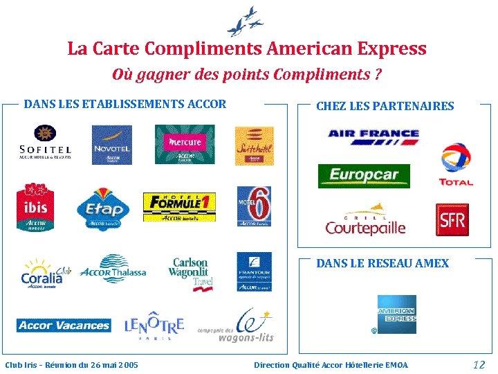 La Carte Compliments American Express Où gagner des points Compliments ? DANS LES ETABLISSEMENTS