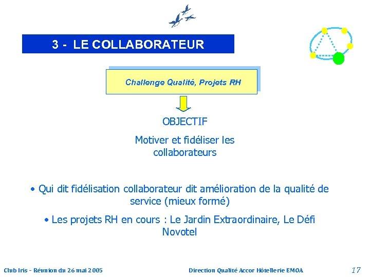 3 - LE COLLABORATEUR Challenge Qualité, Projets RH OBJECTIF Motiver et fidéliser les collaborateurs