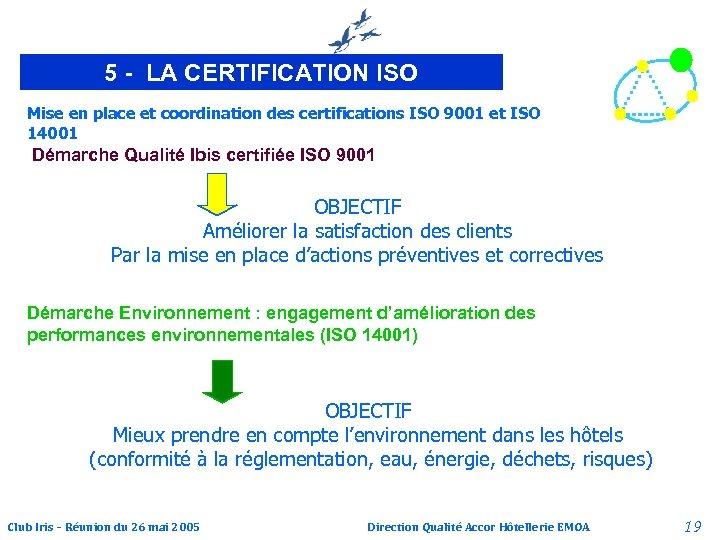 5 - LA CERTIFICATION ISO Mise en place et coordination des certifications ISO 9001