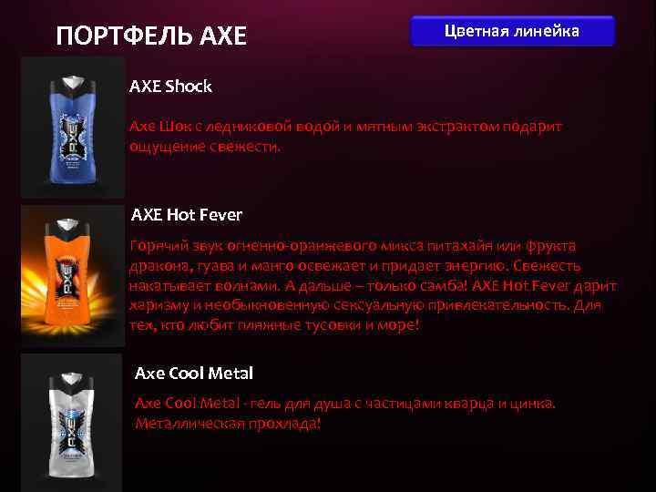 ПОРТФЕЛЬ AXE Цветная линейка AXE Shock Axe Шок с ледниковой водой и мятным экстрактом