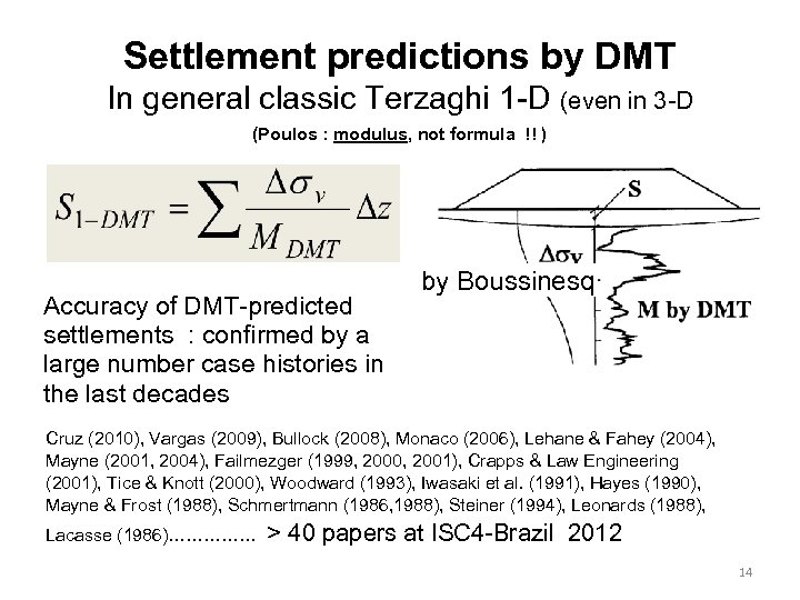 Settlement predictions by DMT In general classic Terzaghi 1 -D (even in 3 -D