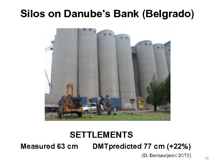 Silos on Danube's Bank (Belgrado) SETTLEMENTS Measured 63 cm DMTpredicted 77 cm (+22%) (D.