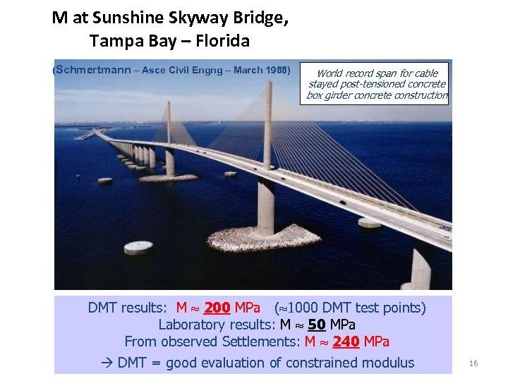 M at Sunshine Skyway Bridge, Tampa Bay – Florida (Schmertmann – Asce Civil Engng