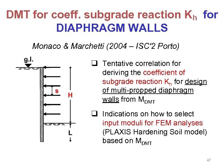 DMT for coeff. subgrade reaction Kh for DIAPHRAGM WALLS Monaco & Marchetti (2004 –