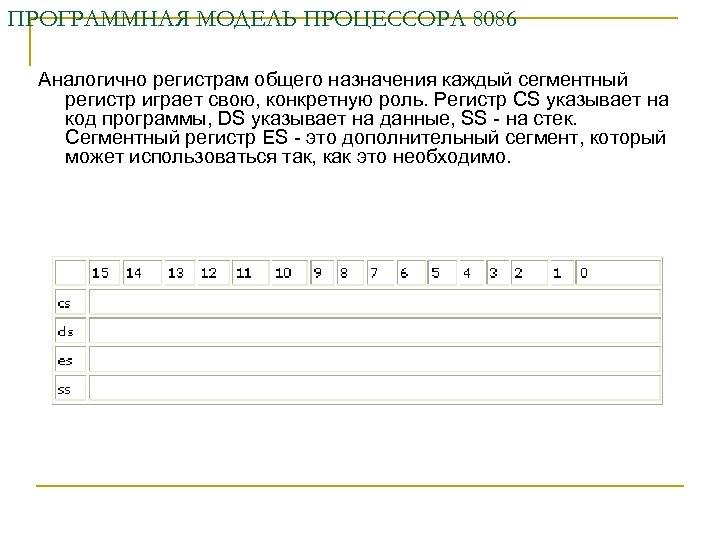 ПРОГРАММНАЯ МОДЕЛЬ ПРОЦЕССОРА 8086 Аналогично регистрам общего назначения каждый сегментный регистр играет свою, конкретную