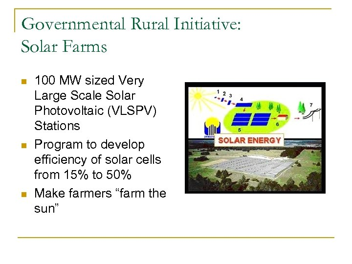 Governmental Rural Initiative: Solar Farms n n n 100 MW sized Very Large Scale