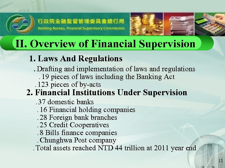 II. Overview of Financial Supervision  1. Laws And Regulations    Drafting and implementation of