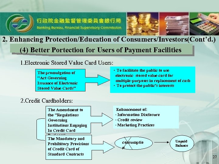 2. Enhancing Protection/Education of Consumers/Investors(Cont'd. ) (4) Better Portection for Users of Payment Facilities