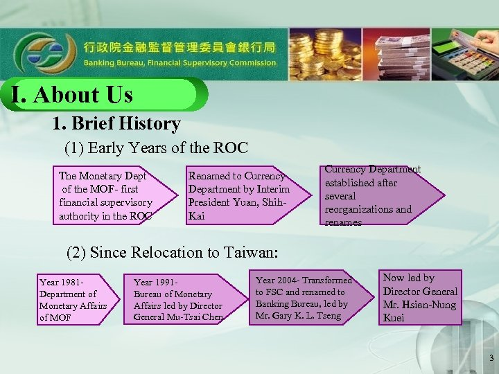 I. About Us 1. Brief History (1) Early Years of the ROC          The