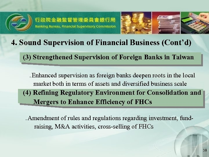 4. Sound Supervision of Financial Business (Cont'd) (3) Strengthened Supervision of Foreign Banks in