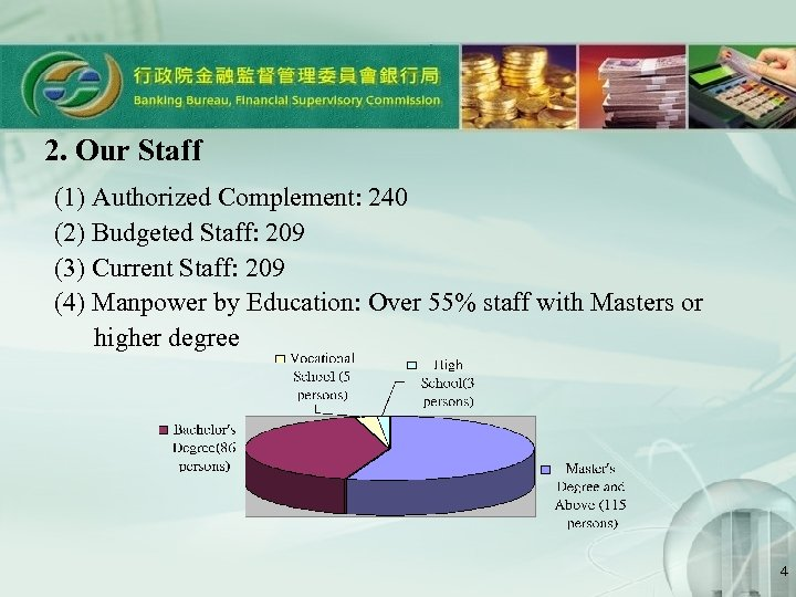 2. Our Staff (1) Authorized Complement: 240 (2) Budgeted Staff: 209 (3) Current Staff: