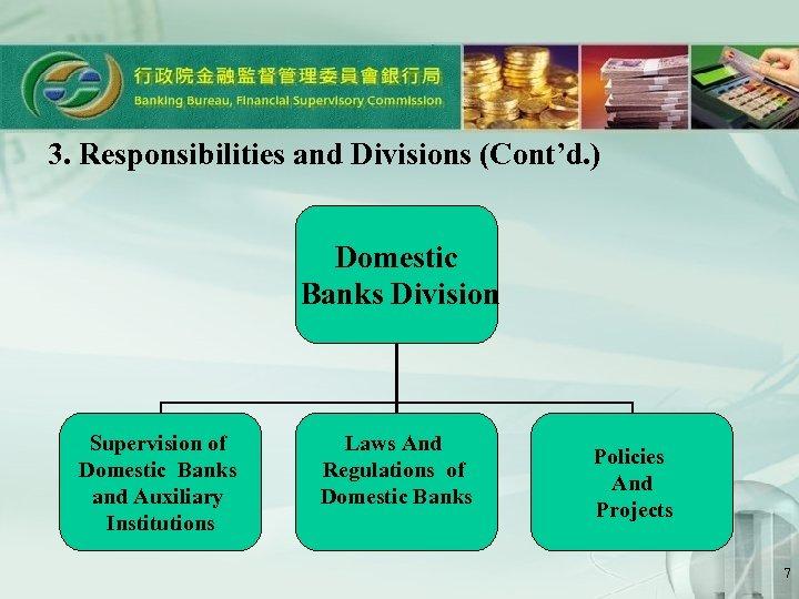 3. Responsibilities and Divisions (Cont'd. ) Domestic Banks Division Supervision of Domestic Banks and