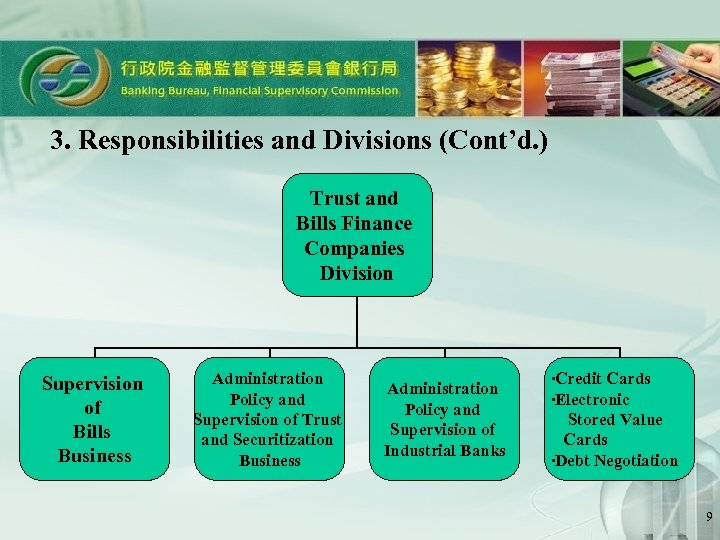 3. Responsibilities and Divisions (Cont'd. ) Trust and Bills Finance Companies Division Supervision of