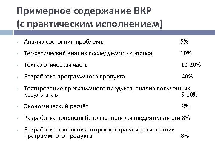 Примерное содержание ВКР (с практическим исполнением) • Анализ состояния проблемы 5% • Теоретический анализ