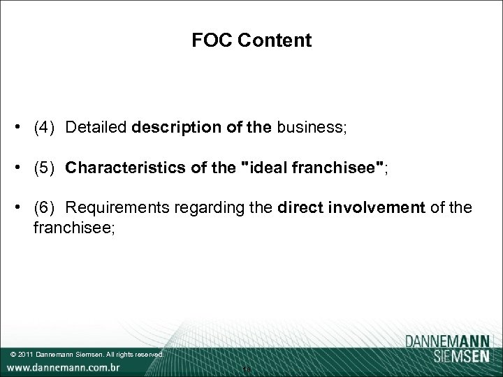 FOC Content • (4) Detailed description of the business; • (5) Characteristics of the