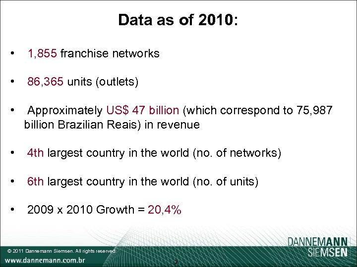 Data as of 2010: • 1, 855 franchise networks • 86, 365 units (outlets)