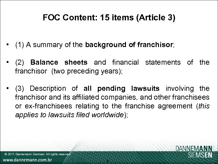 FOC Content: 15 items (Article 3) • (1) A summary of the background of