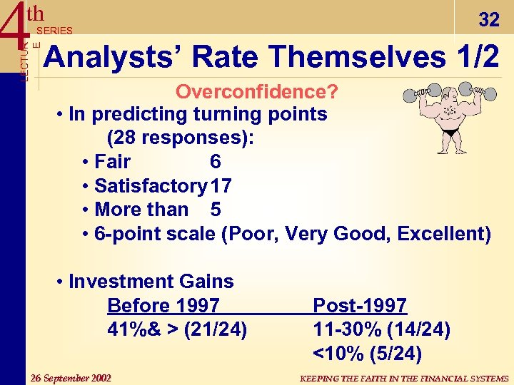 4 Analysts' Rate Themselves 1/2 th 32 LECTUR E SERIES Overconfidence? • In predicting