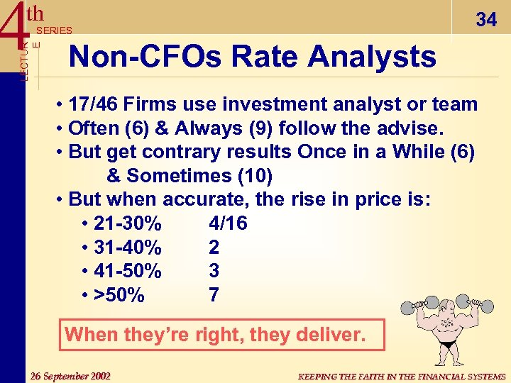 4 th 34 LECTUR E SERIES Non-CFOs Rate Analysts • 17/46 Firms use investment