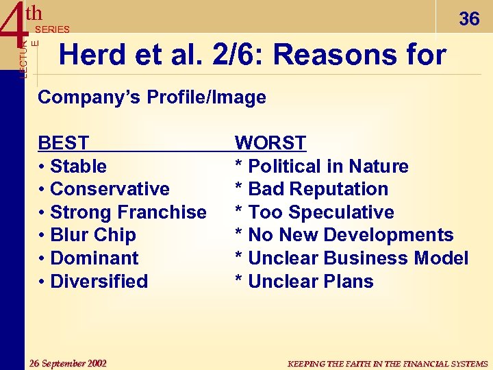 4 th 36 LECTUR E SERIES Herd et al. 2/6: Reasons for Company's Profile/Image