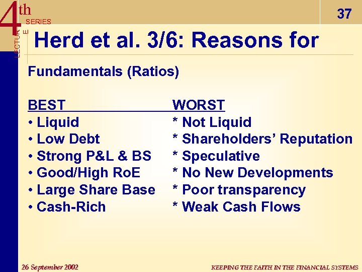 4 Herd et al. 3/6: Reasons for th 37 LECTUR E SERIES Fundamentals (Ratios)