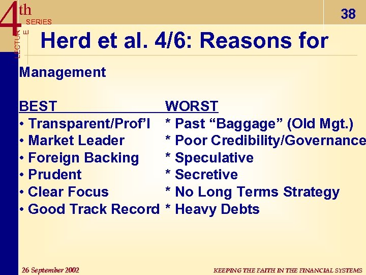 4 th 38 LECTUR E SERIES Herd et al. 4/6: Reasons for Management BEST