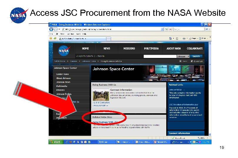 Access JSC Procurement from the NASA Website 19