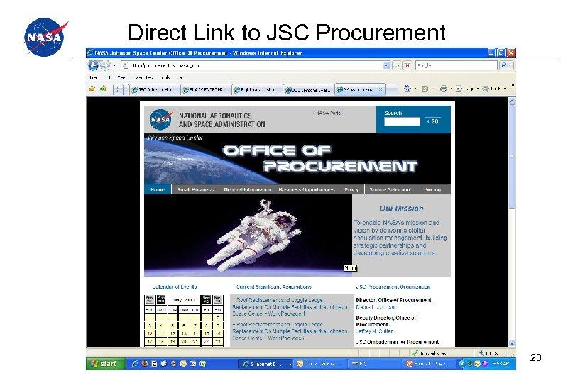 Direct Link to JSC Procurement 20