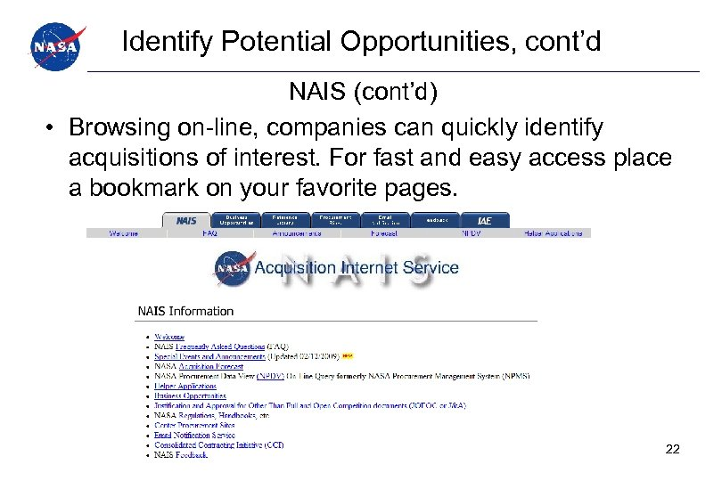 Identify Potential Opportunities, cont'd NAIS (cont'd) • Browsing on-line, companies can quickly identify acquisitions