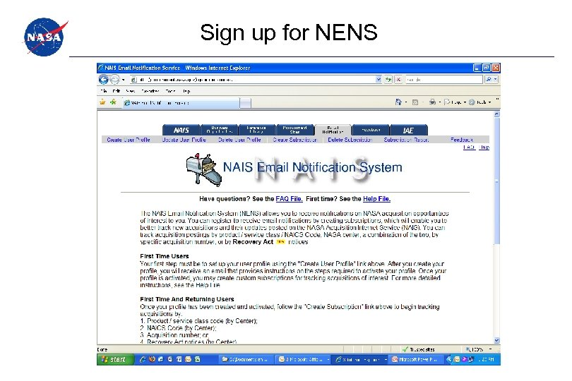 Sign up for NENS