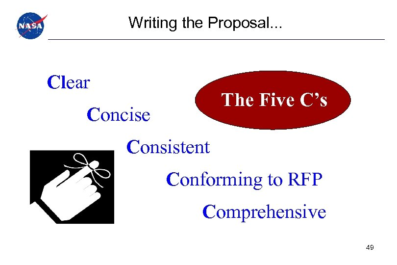 Writing the Proposal. . . Clear The Five C's Concise Consistent Conforming to RFP