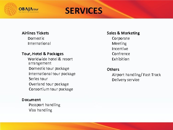 SERVICES Airlines Tickets Domestic International Tour, Hotel & Packages Worldwide hotel & resort arrangement