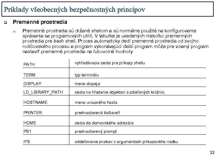 Príklady všeobecných bezpečnostných princípov q Premenné prostredia o Premenné prostredia sú držané shellom a