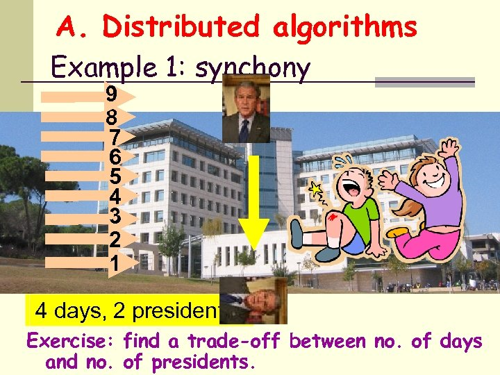 A. Distributed algorithms Example 1: synchony 9 8 7 6 5 4 3 2