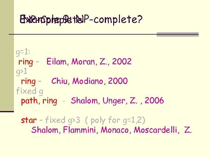 Example 9: NP-complete? NP-Complete g=1: ring – Eilam, Moran, Z. , 2002 g>1 ring