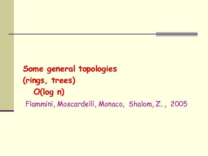 Some general topologies (rings, trees) O(log n) Flammini, Moscardelli, Monaco, Shalom, Z. , 2005