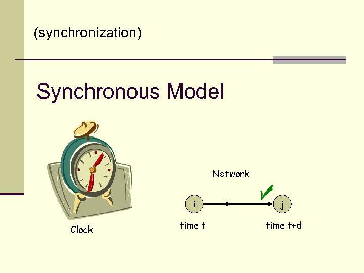 (synchronization) Synchronous Model Network i Clock j time t+d