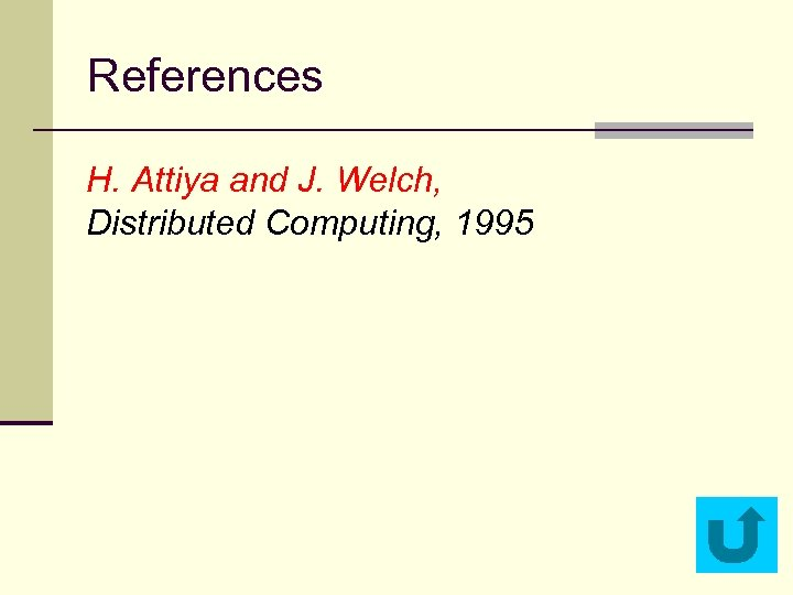 References H. Attiya and J. Welch, Distributed Computing, 1995